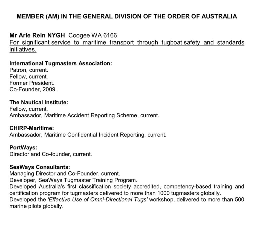 Arie Nygh - Order of Australia