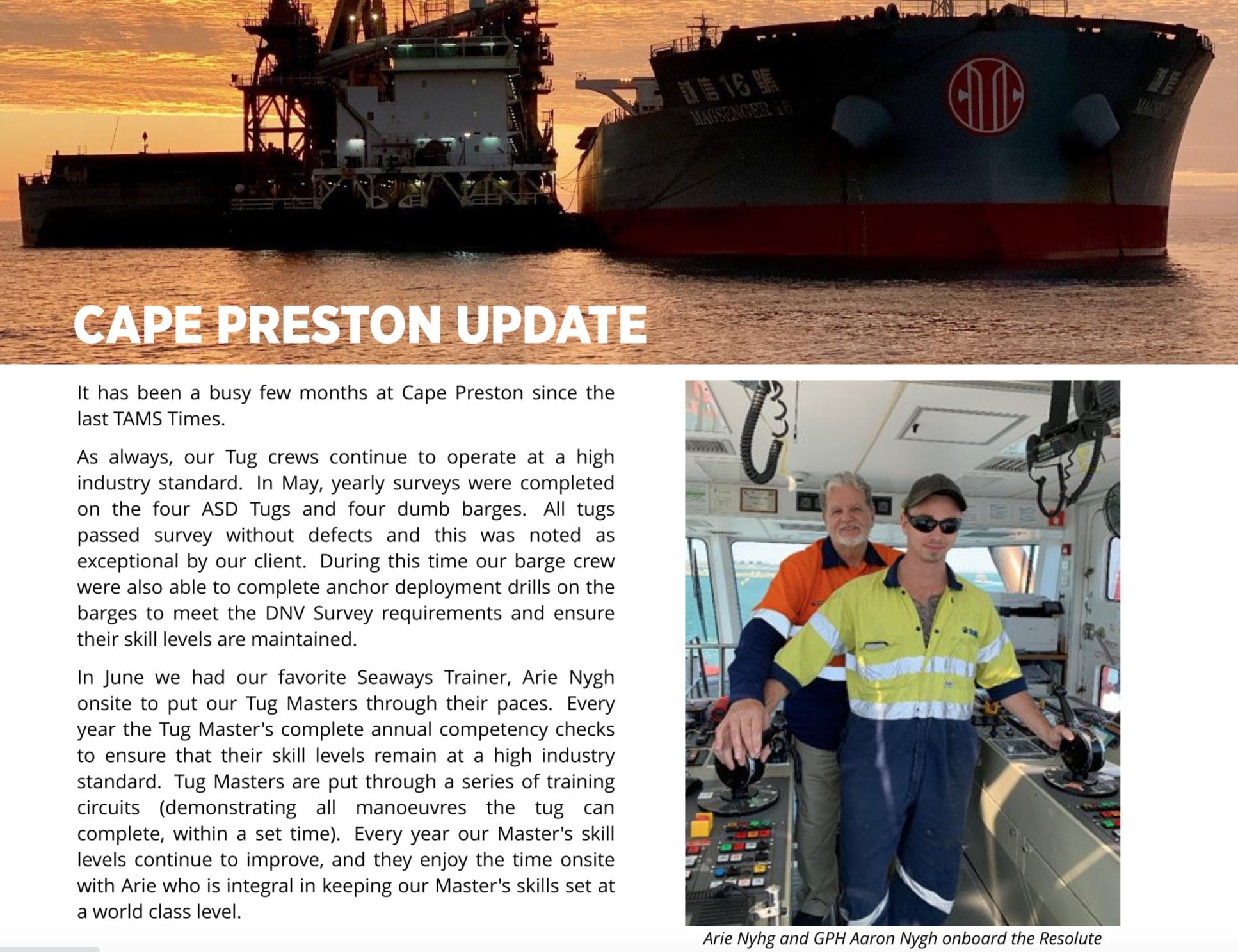 Cape Preston Update